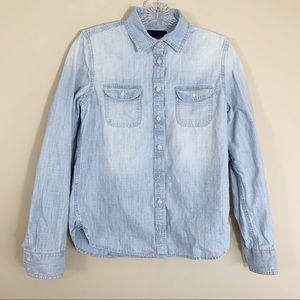 American Eagle Light Wash Button Down Shirt